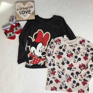 2 Minnie Mouse long sleeved t-shirts 3T